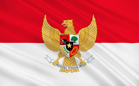 jakarta: Flag of Indonesia officially the Republic of Indonesia, is a country in Southeast Asia. Its capital city is Jakarta. 3D illustration