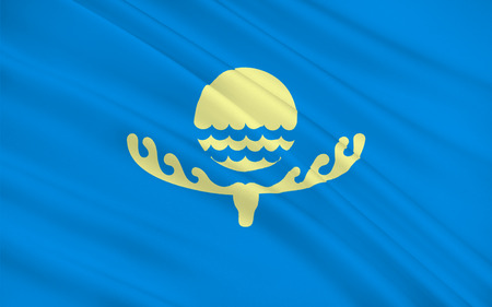 Flag of Karako formerly Przhevalsk, is the fourth largest city in Kyrgyzstan, near the eastern tip of Lake Issyk-Kul in Kyrgyzstan. 3d illustration