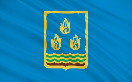 Flag of Baku is the capital and largest city of Azerbaijan, as well as the largest city on the Caspian Sea and of the Caucasus region. 3D illustration