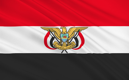 peninsula: Flag of Yemen officially known as the Republic of Yemen is an Arab country in Western Asia, occupying the southwestern to the southern end of the Arabian Peninsula. 3D rendering