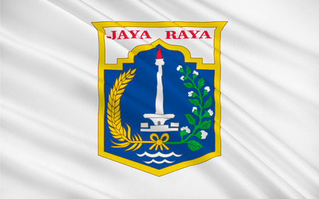 jakarta: Flag of Jakarta officially known as the Special Capital Region of Jakarta is the capital and largest city of the Republic of Indonesia. 3D illustration