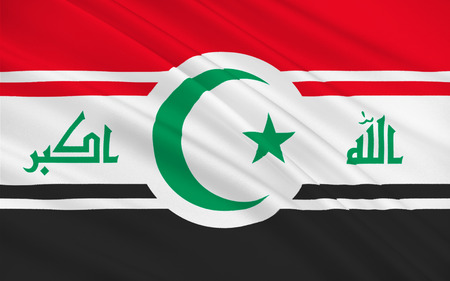 iraq war: Flag of Iraq officially the Republic of Iraq is a country in Western Asia. 3D illustration Stock Photo