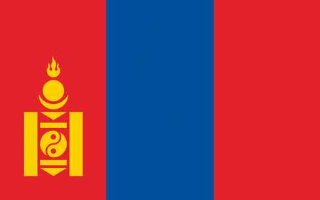 Flag of Mongolia is a landlocked sovereign state in East Asia. Stock Photo