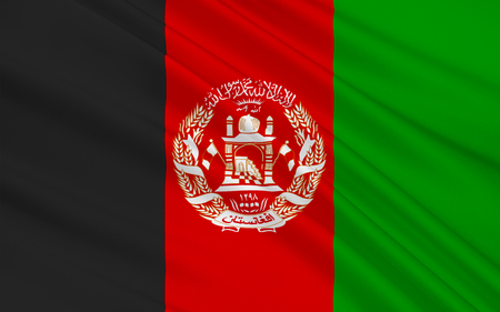 south asia: Flag of Afghanistan officially the Islamic Republic of Afghanistan, is a landlocked country located within South Asia and Central Asia. 3D illustration