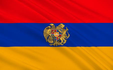 western asia: Flag of Armenia officially the Republic of Armenia is a sovereign state in the South Caucasus region of Eurasia. Located in Western Asia. 3d illustration