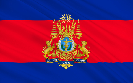 Flag of Cambodia officially known as the Kingdom of Cambodia and once known as the Khmer Empire, is a country located in the southern portion of the Indochina Peninsula in Southeast Asia. 3D illustration