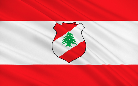 western asia: Flag of Lebanon officially the Lebanese Republic is a sovereign state in Western Asia. 3d illustration