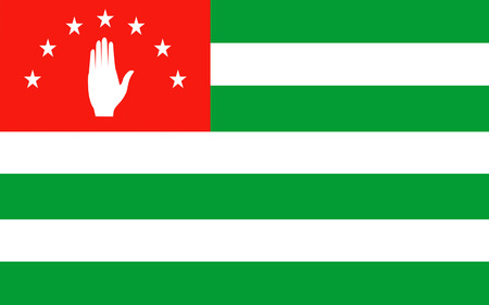 sukhumi: Flag of Abkhazia is a partially recognised state on the eastern coast of the Black Sea and the south-western flank of Caucasus, south of Russia and northwest of Georgia proper. 3d illustration