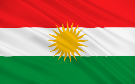 Flag of Kurdistan - ethno-geographical area in the Near East, within which Kurds constitute an absolute or relative majority of the population. 3d illustration