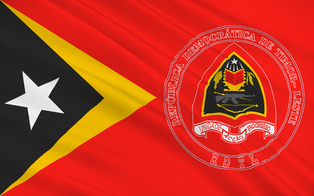 Flag of East Timor or Timor-Leste officially the Democratic Republic of Timor-Leste is a sovereign state in Maritime Southeast Asia. 3d illustration Stock Photo