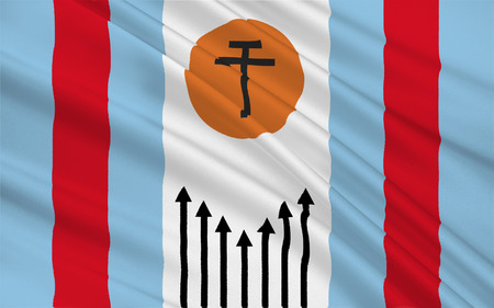 corrientes: Flag of Corrientes is the capital city of the province of Corrientes, Argentina. 3d illustration