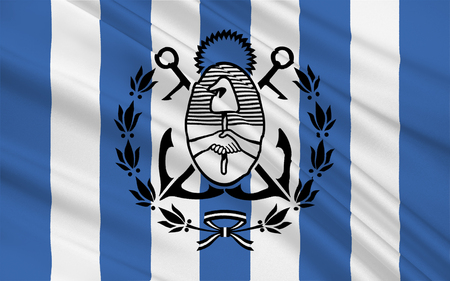 airs: Flag of Mar del Plata is an Argentine city in the southeast part of Buenos Aires Province. 3d illustration