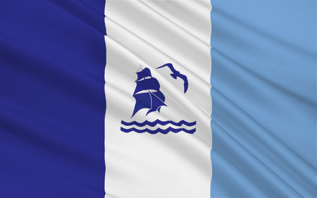 patagonian: Flag of Rio Gallegos is the capital of the Patagonian province of Santa Cruz in Argentina. 3d illustration Stock Photo