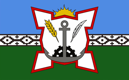 airs: Flag of Bahia Blanca is a city in the south-west of the province of Buenos Aires, Argentina. 3d illustration