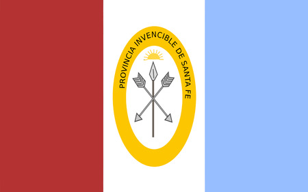 aires: Flag of Santa Fe is a province of Argentina. 3d illustration