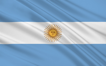 buenos: Flag of Argentina, Buenos Aires. 3d illustration