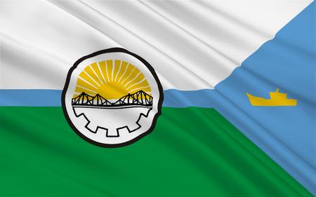 Bandiera di Rawson è la capitale della provincia argentina di Chubut, in Patagonia. illustrazione 3D