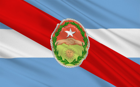 aires: Flag of Entre Rios is a central province of Argentina. 3d illustration Stock Photo