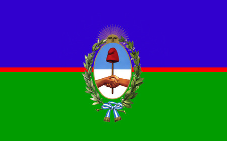 airs: Flag of Buenos Aires is the largest and most populous Argentinian province. 3d illustration Stock Photo