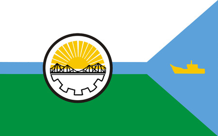 Flag of Rawson is the capital of the Argentine province of Chubut, in Patagonia. 3d illustration