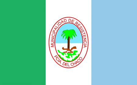 aires: Flag of Resistencia is the capital and largest city of the province of Chaco, in north-eastern Argentina. 3d illustration Stock Photo