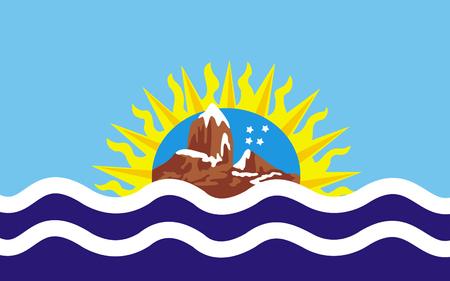 Flag of Santa Cruz is a province of Argentina. 3d illustration