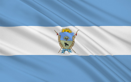 populated: Flag of La Pampa is a sparsely populated province of Argentina. 3d illustration Stock Photo