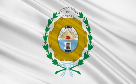 Flag of Santa Fe de la Vera Cruz is the capital city of the province of Santa Fe, Argentina. 3d illustration