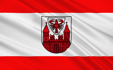 brandenburg: Flag of Cottbus is a university city and the second-largest city in Brandenburg, Germany. 3d illustration
