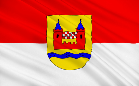 westfalen: Flag of Schwelm is a town in the district of Ennepe-Ruhr-Kreis in the administrative region of Arnsberg, Germany. 3d illustration
