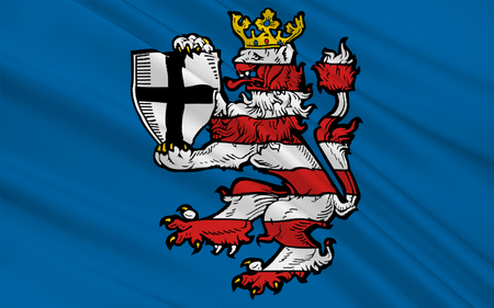 hessen: Flag of Marburg-Biedenkopf is a district in the west of Hesse, Germany. 3d illustration Stock Photo