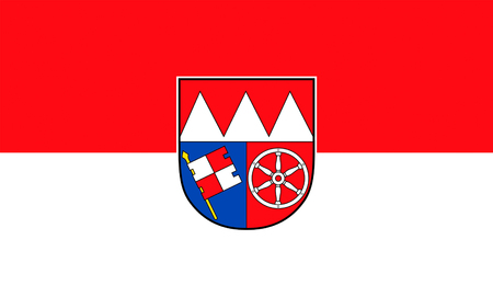 districts: Flag of Lower Franconia is one of seven districts of Bavaria, Germany. 3d illustration Stock Photo