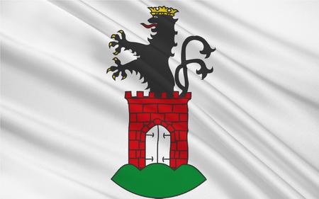 former: Flag of Bergen is the capital of the former district of Ruegen in Mecklenburg-Vorpommern, Germany. 3d illustration