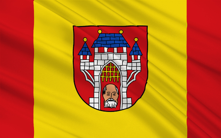 district': Flag of Vechta is the city of the Vechta district in Lower Saxony, Germany. 3d illustration