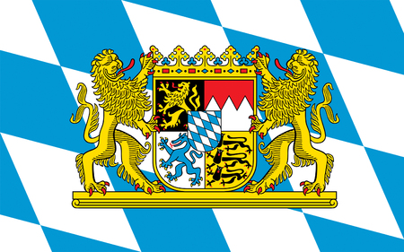federal republic of germany: Flag of Free State of Bavaria - the land in the south and southeast of the Federal Republic of Germany. 3d illustration