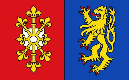 northwestern: Flag of Kleve is a district in northwestern North Rhine-Westphalia, Germany. 3d illustration