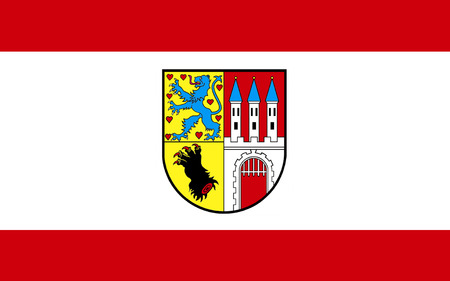 federal republic of germany: Flag of Nienburg is a town and capital of the district Nienburg, in Lower Saxony, Germany. 3d illustration