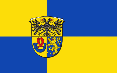 frankfurt germany: Flag of Lahn-Dill is a district in the west of Hesse, Germany. 3d illustration Stock Photo