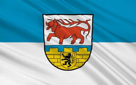 brandenburg: Flag of Oberspreewald-Lausitz is a district in the southern part of Brandenburg, Germany. 3d illustration