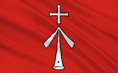 mecklenburg western pomerania: Flag of Stralsund is a Hanseatic town in Mecklenburg-Vorpommern, Germany. 3d illustration