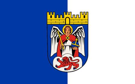 north rhine westphalia: Flag of Siegburg is a city in the district of Rhein-Sieg-Kreis, in North Rhine-Westphalia, Germany. 3d illustration