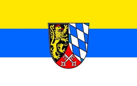 districts: Flag of Upper Palatinate is one of the seven administrative districts of Bavaria, Germany. 3d illustration