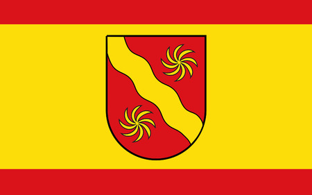 munster: Flag of Warendorf is a district in the northern part of North Rhine-Westphalia, Germany. 3d illustration