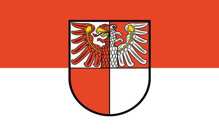 brandenburg: Flag of Barnim is a district in Brandenburg, Germany. 3d illustration Stock Photo