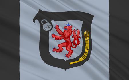 north rhine westphalia: Flag of Mettmann is a district in the middle of North Rhine-Westphalia, Germany. 3d illustration Stock Photo