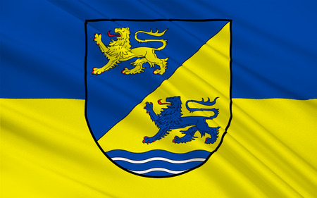 reich: Flag of Schleswig-Flensburg is a district in Schleswig-Holstein, Germany Stock Photo