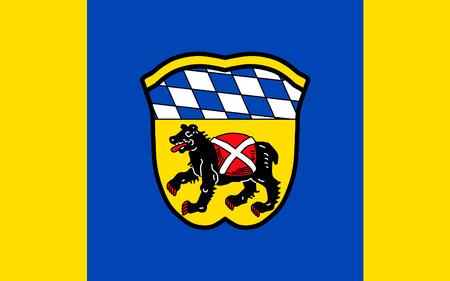 freising: Flag of Freising is a town in Bavaria, Germany. 3d illustration Stock Photo