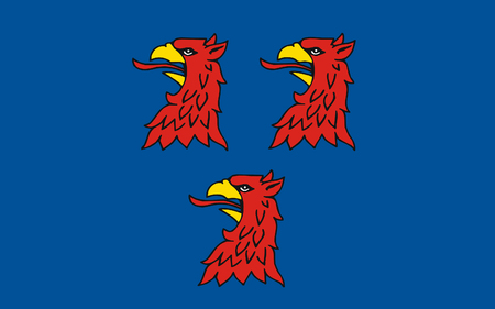 greifswald: Flag of Pasewalk is a town in the Vorpommern-Greifswald district, in the state of Mecklenburg-Vorpommern in Germany. 3d illustration Stock Photo