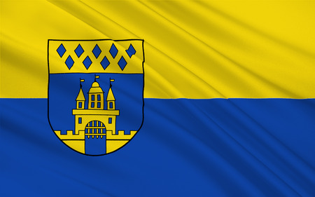 munster: Flag of Steinfurt is a town in North Rhine-Westphalia, Germany. 3d illustration Stock Photo