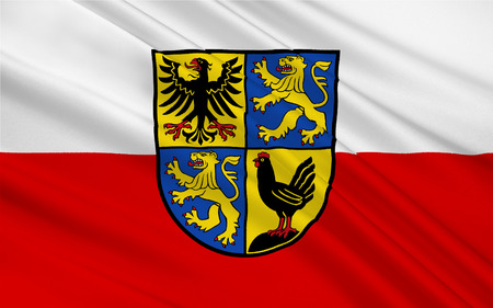 district': Flag of Ilm-Kreis is a district in Thuringia, Germany Stock Photo